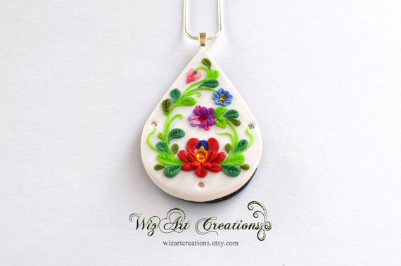 Hungarian Handmade Jewelry Polymer Clay Pendant by WizArtCreations