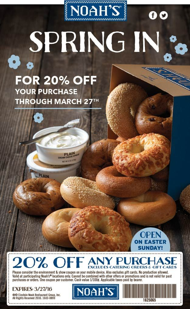 Pinned March 26th: 20% off at Noahs bagels #coupon via The #Coupons App