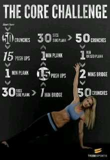 Workout Fitness Motivation. The Core Challenge. Challenge yourself! #inspiration #workout exercise.com- visit us today for tools, tips, and motivation. be sure to #repin and share these great workouts.