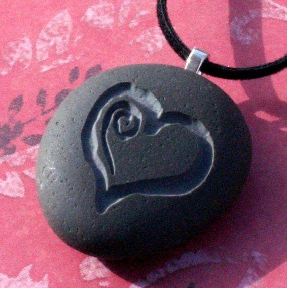 Sweet Heart pendant  Tiny PebbleGlyph C  Engraved by sjengraving, $20.00