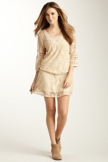 Belted Tunic Dress Lace Cream