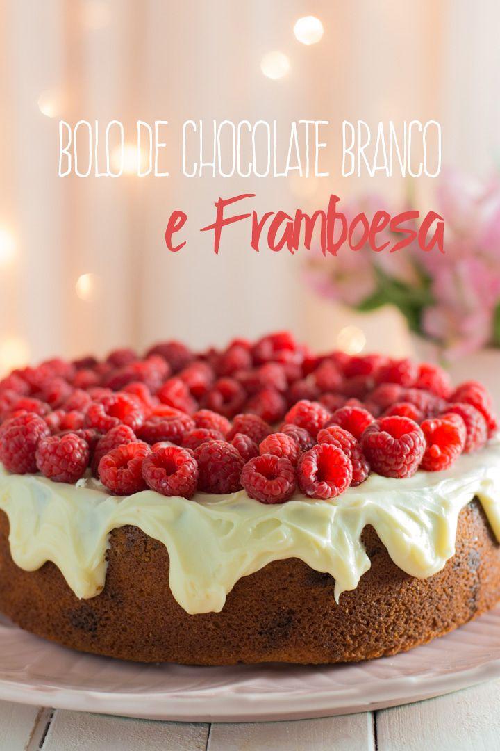 Bolo de Chocolate Branco e Framboesa | http://www.vaicomeroque.net/boloframboesa/