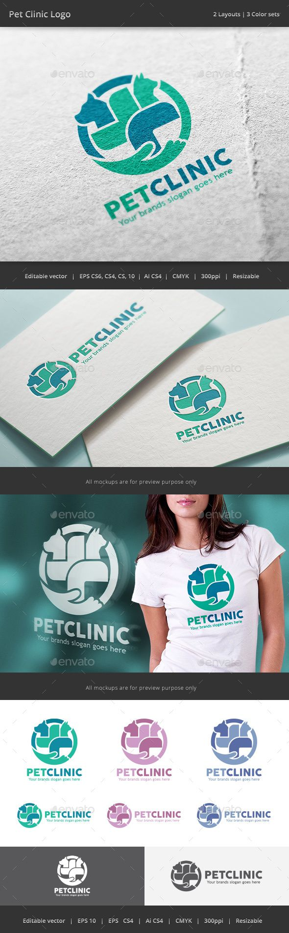 Pet Clinic Veterinarian  Logo Design Template Vector #logotype Download it here: http://graphicriver.net/item/pet-clinic-veterinarian-logo/15881975?s_rank=6?ref=nesto