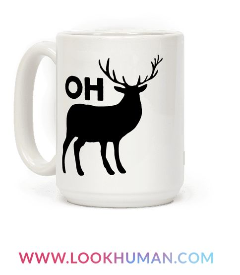 "This funny deer mug features a deer which creates the phrase ""oh dear"" and is perfect for people who love deer, puns, coffee, visual jokes, cute animal shirts, hunting, the country, bucks, antlers, cute creatures, and showing your love for puns and nature at the gym, at school, college, university, hunting, fishing, and loving the country life!"