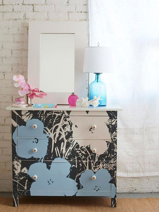 We love this DIY artistic dresser! More weekend home decorating projects: http://www.bhg.com/decorating/do-it-yourself/accents/easy-weekend-decorating-projects/?socsrc=bhgpin073113patterndresser=21