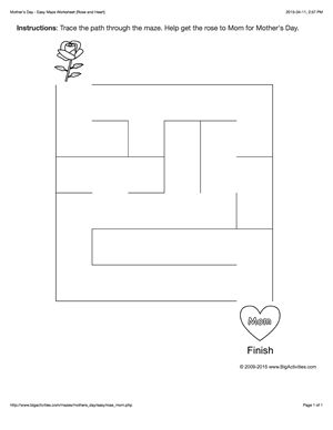 Mother's Day maze worksheet with a rose and heart. 4 levels of difficulty. Maze changes each time you visit