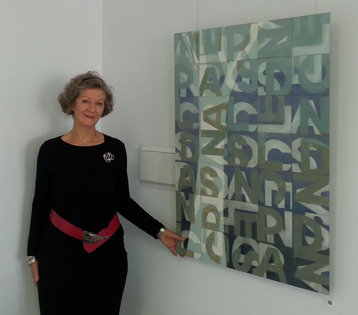 Patricia Hines with Typographic Landscape 2014, pic by Gail Robinson