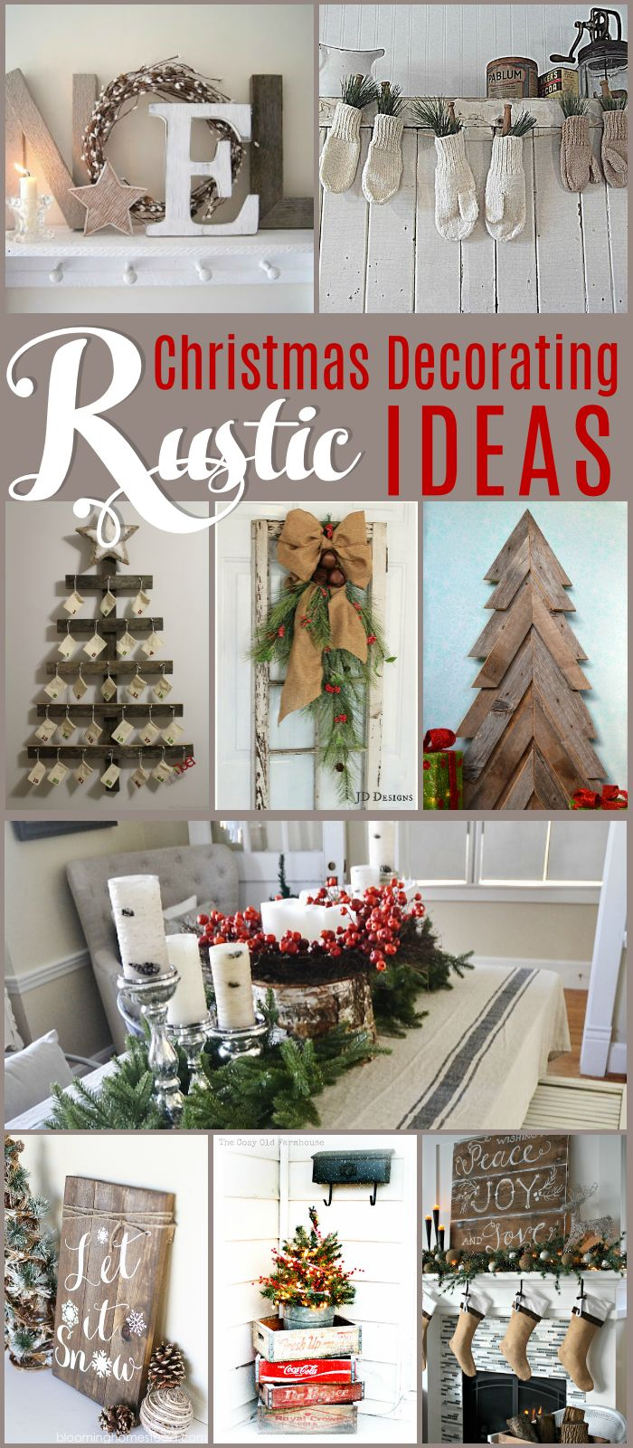 Beautiful Rustic Christmas Decorating Ideas - you won't believe what's being used as a tree topper! Lots of DIY ideas for giving your home a rustic feel for Christmas.