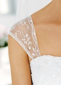Cap sleeve with beaded floral motif. A great way to add glamorous and flattering coverage to any strapless gown. Available in White or Ivory. Or we can make our own ~ what a great idea!