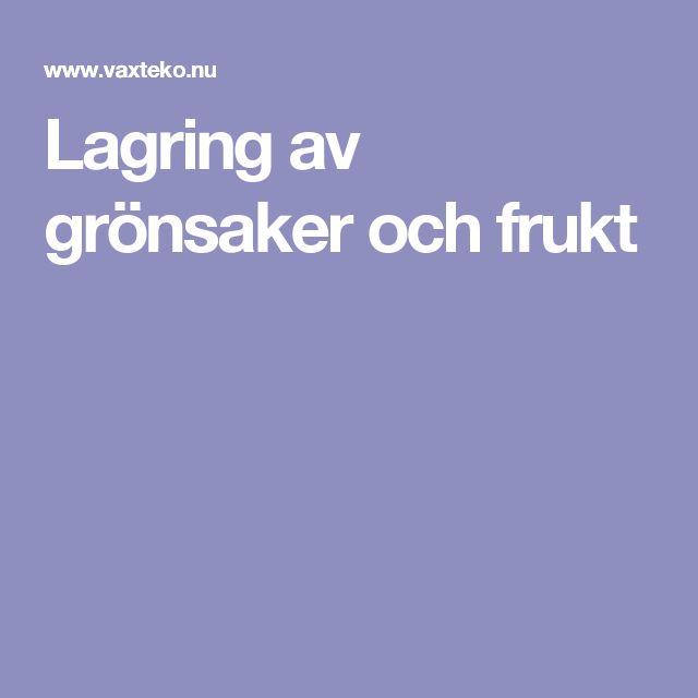 Lagring av grönsaker och frukt