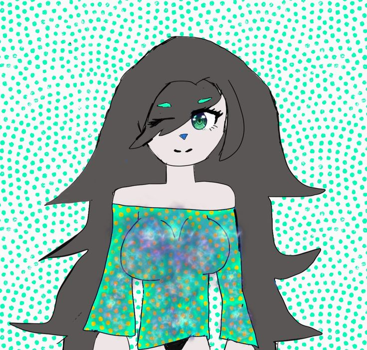 Kawaii in cute teal shirt by Rem12356 (eye base and nebula base used)
