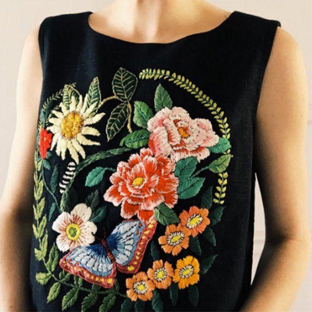 Fleurs & papillon / broderies fleuries / flowers embroidery