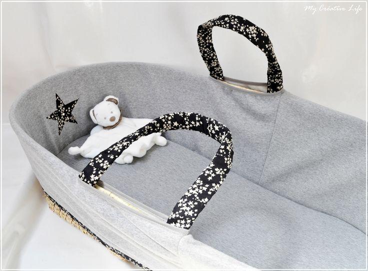 Couffin étoile, gris, noir et blanc