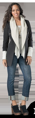 lovin the cabi! trench...layered with super cute shawl hoodie = <3