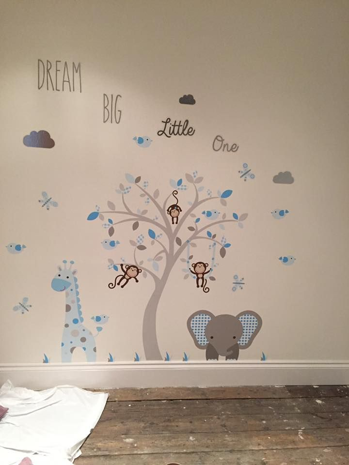 Enchanted Interiors Premium Self Adhesive Fabric Nursery Wall Decals Elephant and Giraffe Nursery Wall Art in blue, white and grey colours scheme