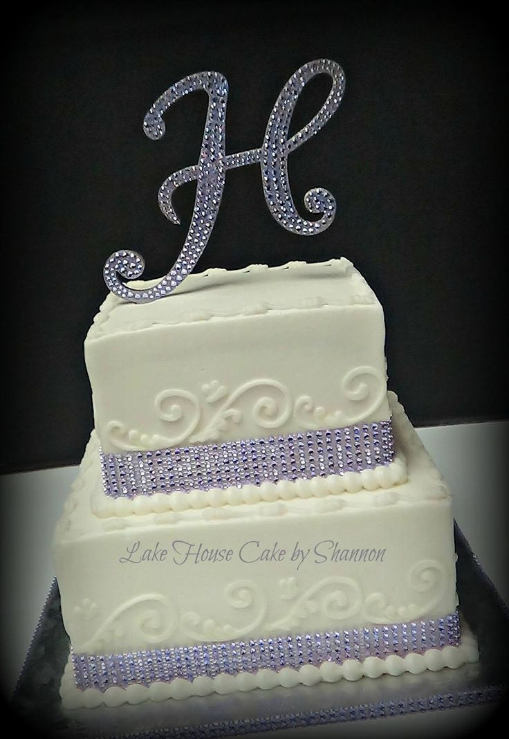 Square wedding cake, wedding cake, rhinestone ribbon, bling ribbon, scrol lwork, monogram topper, lavender, purple, Lake House Cake by Shannon, Panama City Beach, FL