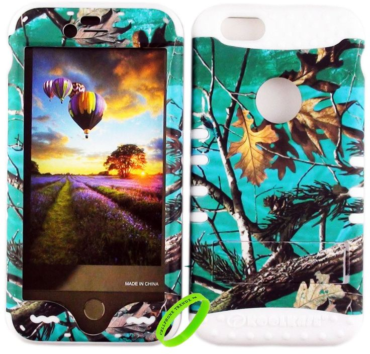 iPhone 6s case , iPhone 6 Cellphone Trendz New HARD & SOFT HYBRID ROCKER HIGH IMPACT PROTECTIVE COVER - Blue Camo Real Hunter Series Mossy Oak Branch Leaves Tree Designon White Silicone. Protect your phone with this stylish premium high-quality case. This