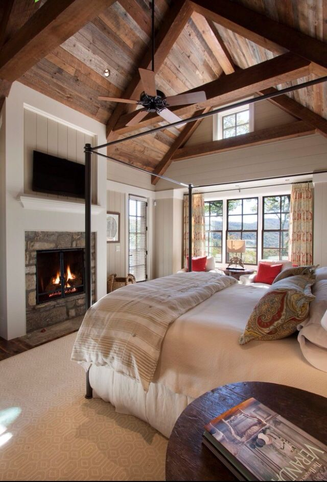 Rustic master bedroom | fireplace
