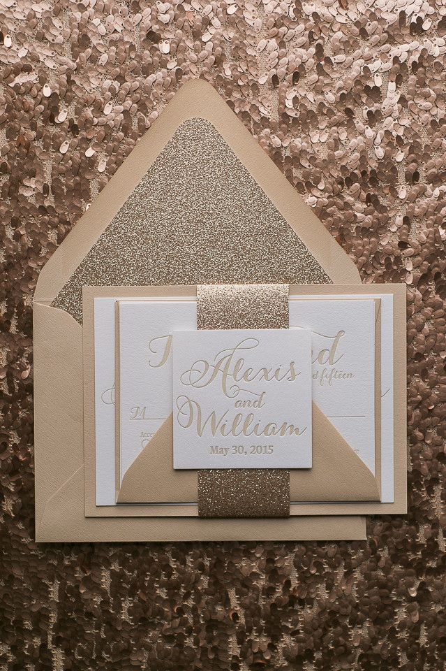 TIFFANY Suite Fancy Glitter Package, rose gold and champagne, letterpress wedding invitations, fancy wedding invitations, glitter, envelope liners