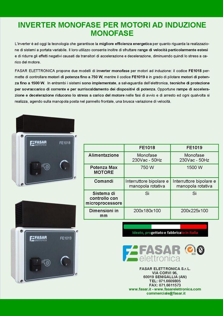 INVERTER MONOFASE PER MOTORI AD INDUZIONE MONOFASE (www.fasar.it).