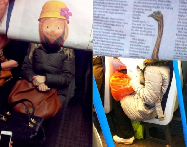 Ordinary commuters are transformed into celebrities, cartoon characters, and animals with the help of a strategically positioned newspaper in these hilarious photos by an anonymous London commuter. According to the Daily Mail, the mystery photographer takes the photos to entertain coworkers.