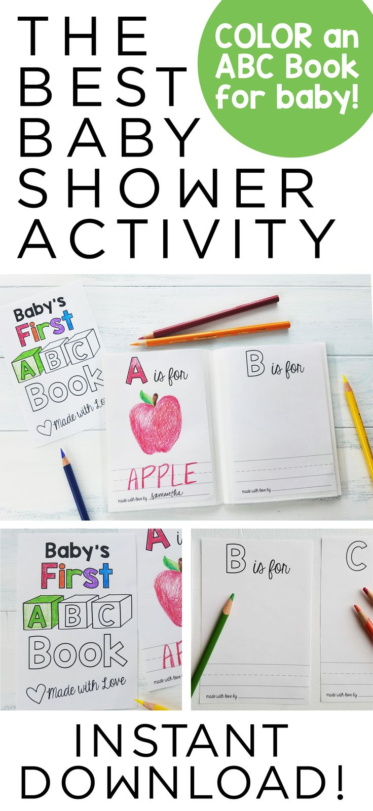 Book Inspired Baby Shower | Guests color a page for Baby's First ABC Book | Baby Shower ABC Book Template | B is for Baby Book Brunch