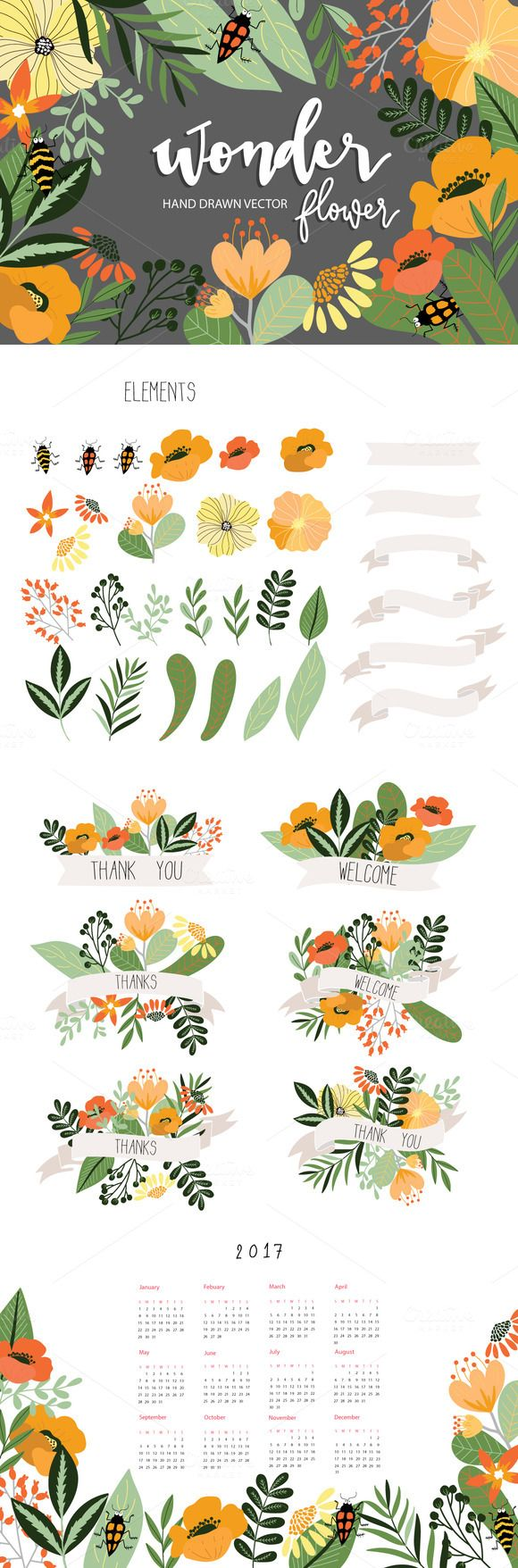 Color art floral wonders - Wonder Flower Hand Drawn Vector Diy By Beerjunk On Creativemarket