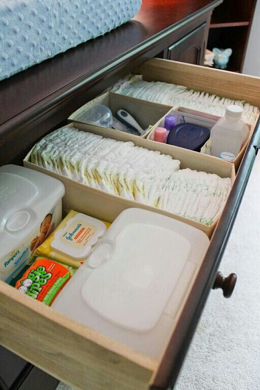 Use small boxes to organize your changing tabel. Makes things a lot easier to find stuff!