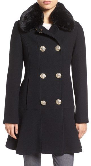 Kate Spade New York Double Breasted Twill Coat With Faux Fur Collar