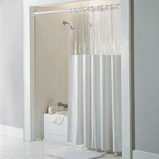 Antibacterial And Antimicrobial Mildew Resistant U0027See Through Topu0027 Clear/  White Vinyl Shower Curtain