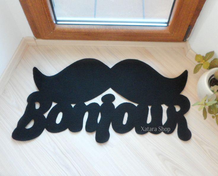 Bonjour.+Felpudo+en+francés+decorado+con+un+bigote+de+Xatara+Shop+por+DaWanda.com