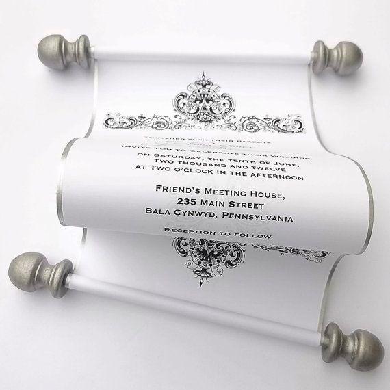 Winter wedding invitation scroll, antique damask, black and white wedding, silver scroll, romantic wedding, rococo wedding, 10
