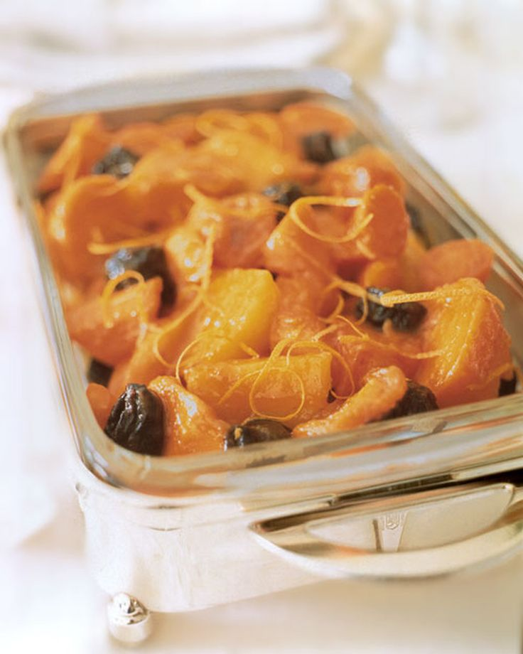 Tzimmes is a traditional stew for Passover, made from a combination of sweet potatoes and dried fruit.