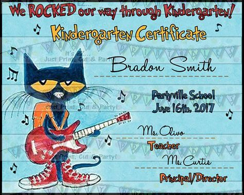 Pete the Cat Graduation Diploma or Certificate and matching