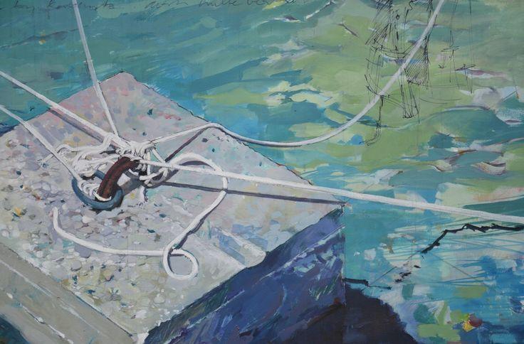 detail oil on canvas-concrete anchor block-Croatia-2010