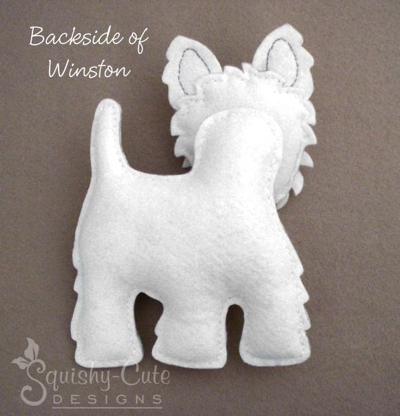 (9) Name: 'Sewing : Felt Westie Dog Stuffed Animal
