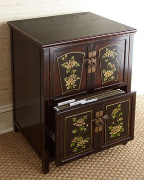 Floral Double-Drawer File Box traditional filing cabinets and carts