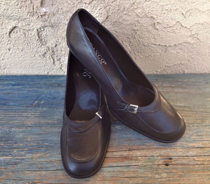 FRANCO SARTO LEATHER BLACK SHOES PUMPS HEELS, ROUND TOE, BRAZIL WOMEN'S 9.5 M #FrancoSarto #PumpsClassics #WeartoWorktoCasual