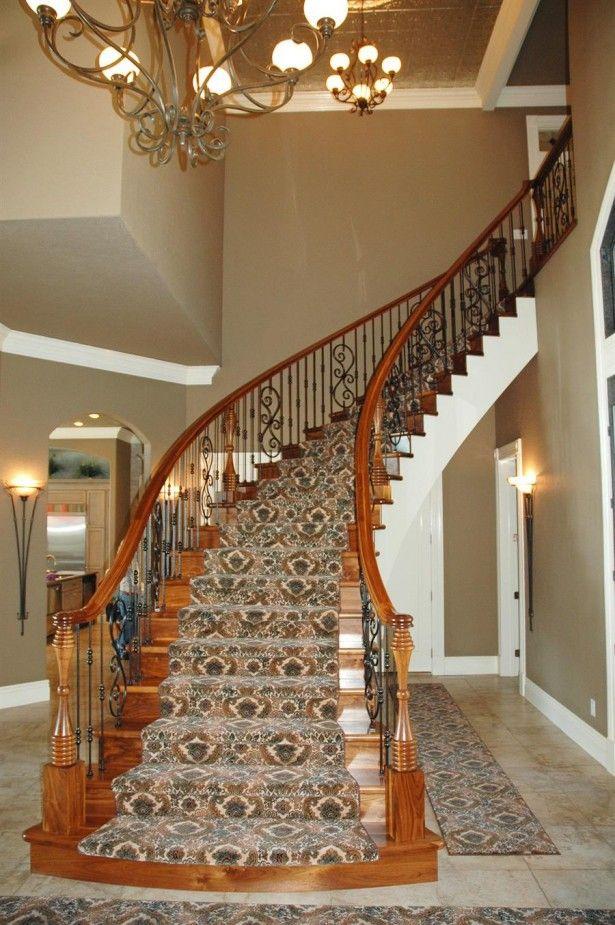 Interior, Brown Varnished Wooden Wine Cellar Spiral ...