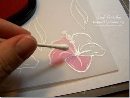 Inspired By Stamping---emboss & color vellum.  Photo tutorial.