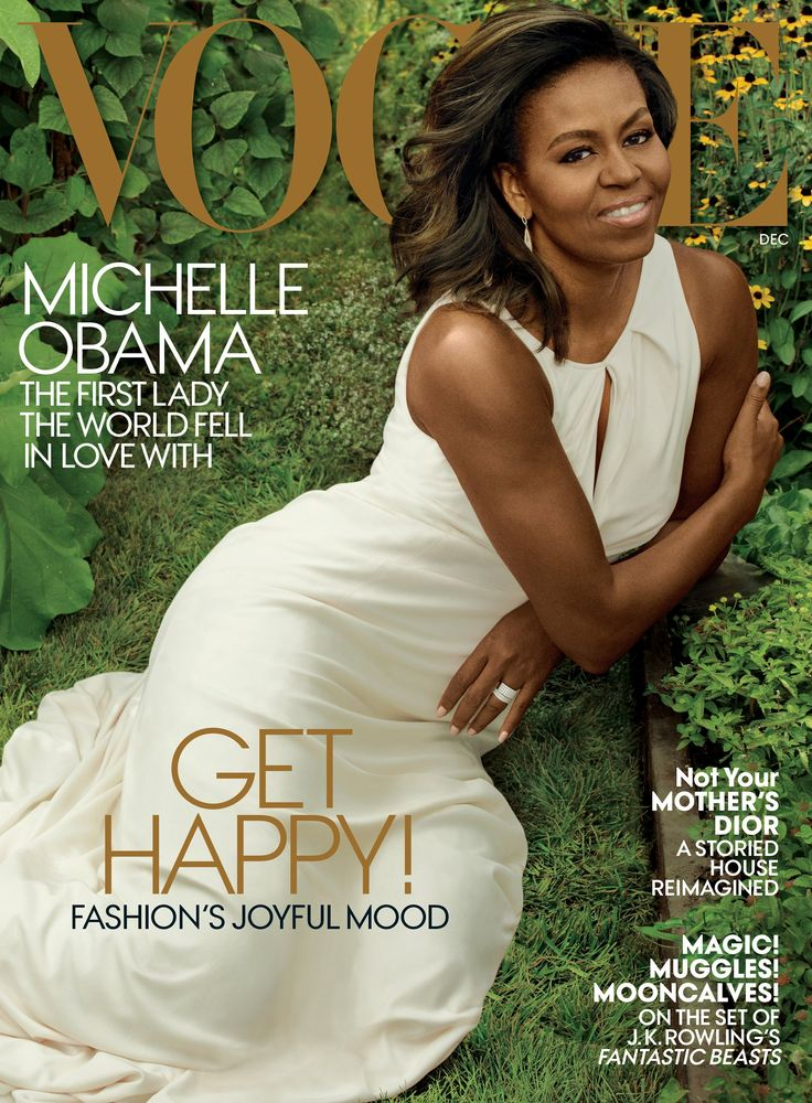 The First Lady - Michelle VOGUE cover girl! Obama wears a Carolina Herrera dress and Monique Péan earrings.