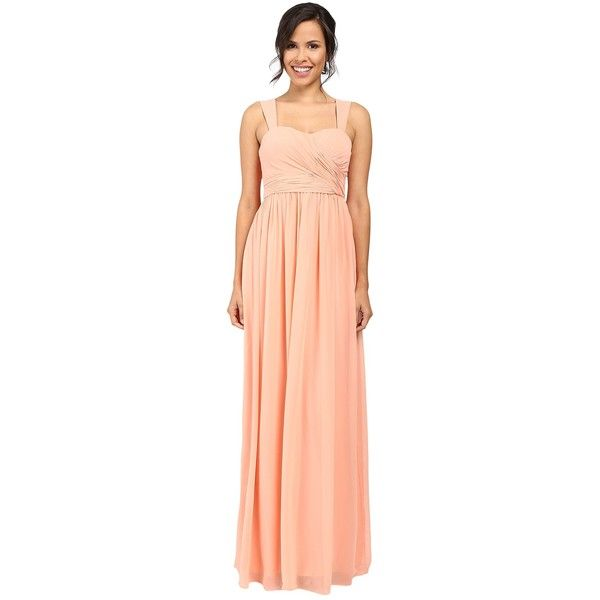Donna Morgan Bailey Gown (Peach Fuzz) Women's Dress ($193) ❤ liked on Polyvore featuring dresses, gowns, red ball gown, long red skirt, red chiffon gowns, red evening gowns and red maxi skirt