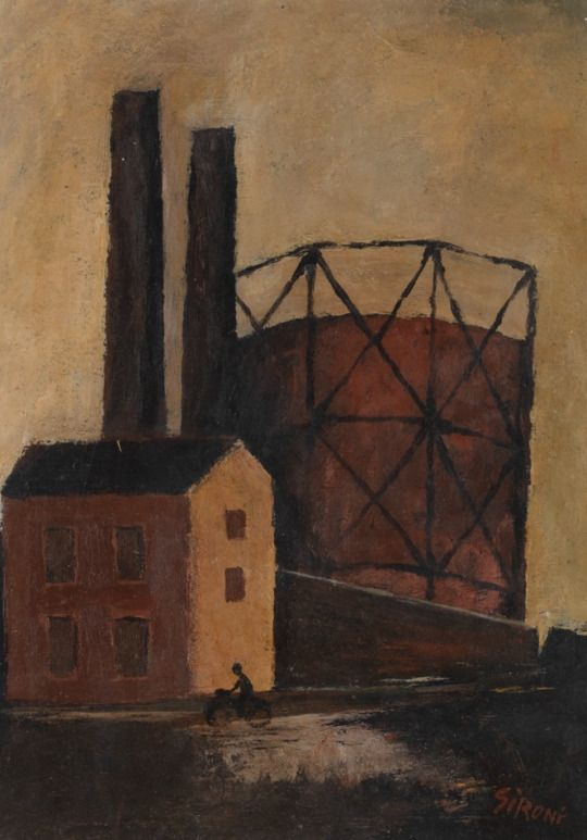 Mario Sironi (Italian, 1885-1961), Factory and Bicyclist. Oil on paper.