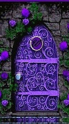 Quirky purple door to…