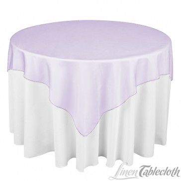 72 Inch Square Organza Overlay Lavender On A 60 Inch Round Table