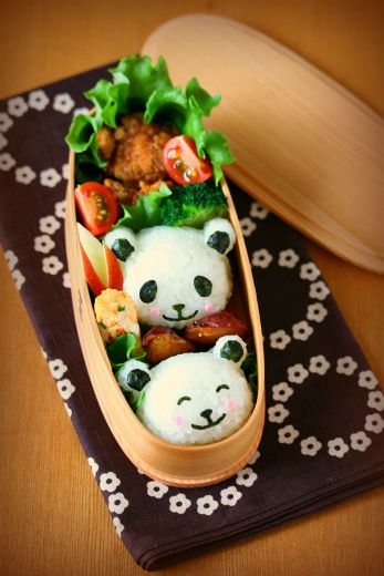 Panda Face Rice Balls Kyaraben Bento Lunch (Chicken Karaage, Egg Omelet, Rabbit-Shaped Apple) by ivory_bell