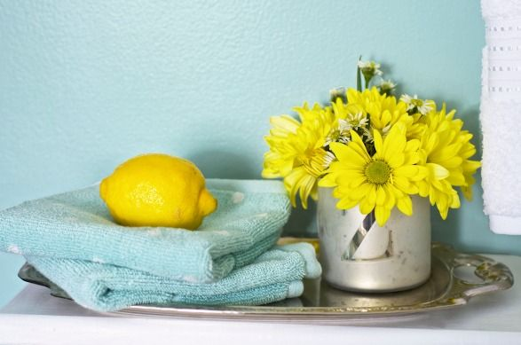 Blue and yellow bathroom - color is SW watery