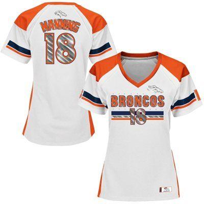 Women's Majestic Peyton Manning White Denver Broncos Draft Him Fashion V-Neck Top T-Shirt