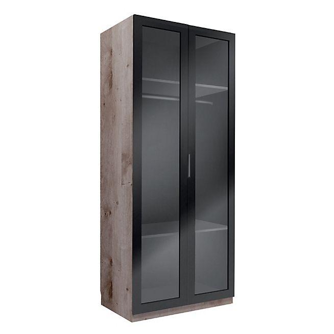 Altea Dressing 2 portes battantes noires en verre fumé L100xH235xP58cm