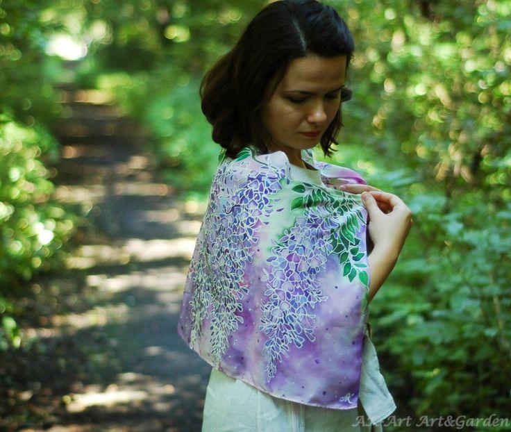 Jedwabny szalik ręcznie malowany w glicynie :) Silk scarf hand painted in wisterias :) Seidenschal handbemalt in Glyzinien :)